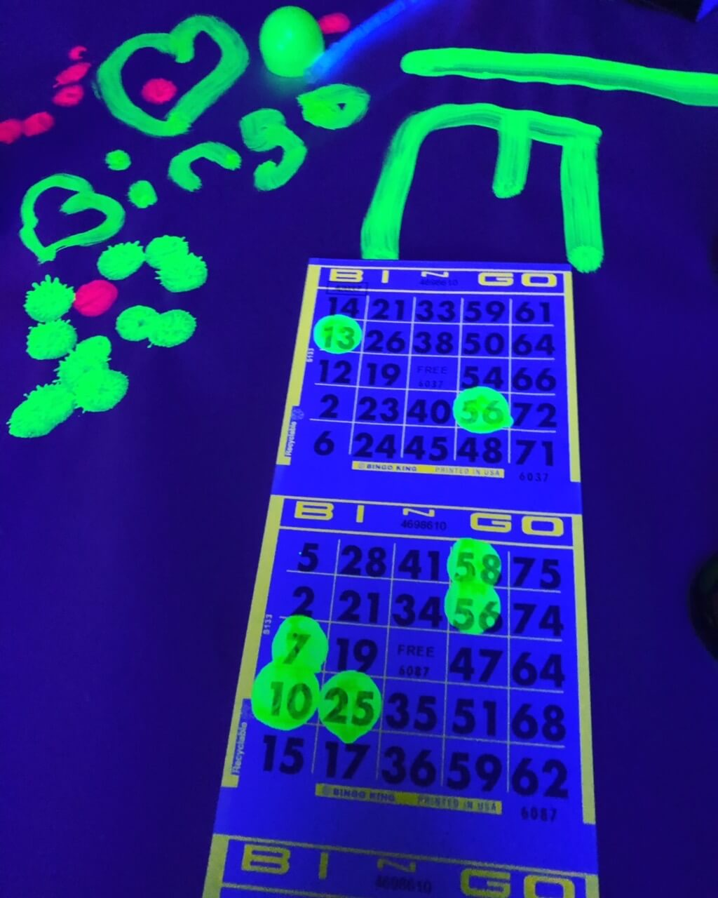 Blacklight bingo paper and Ink