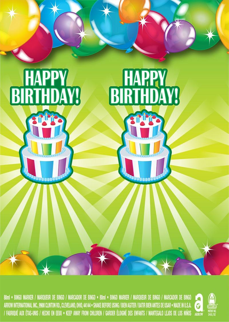 Happy Birthday / Balloons and Cake