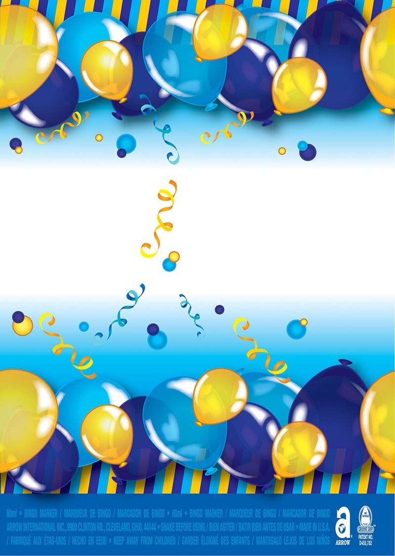 Happy Birthday / Blue & Gold Balloons