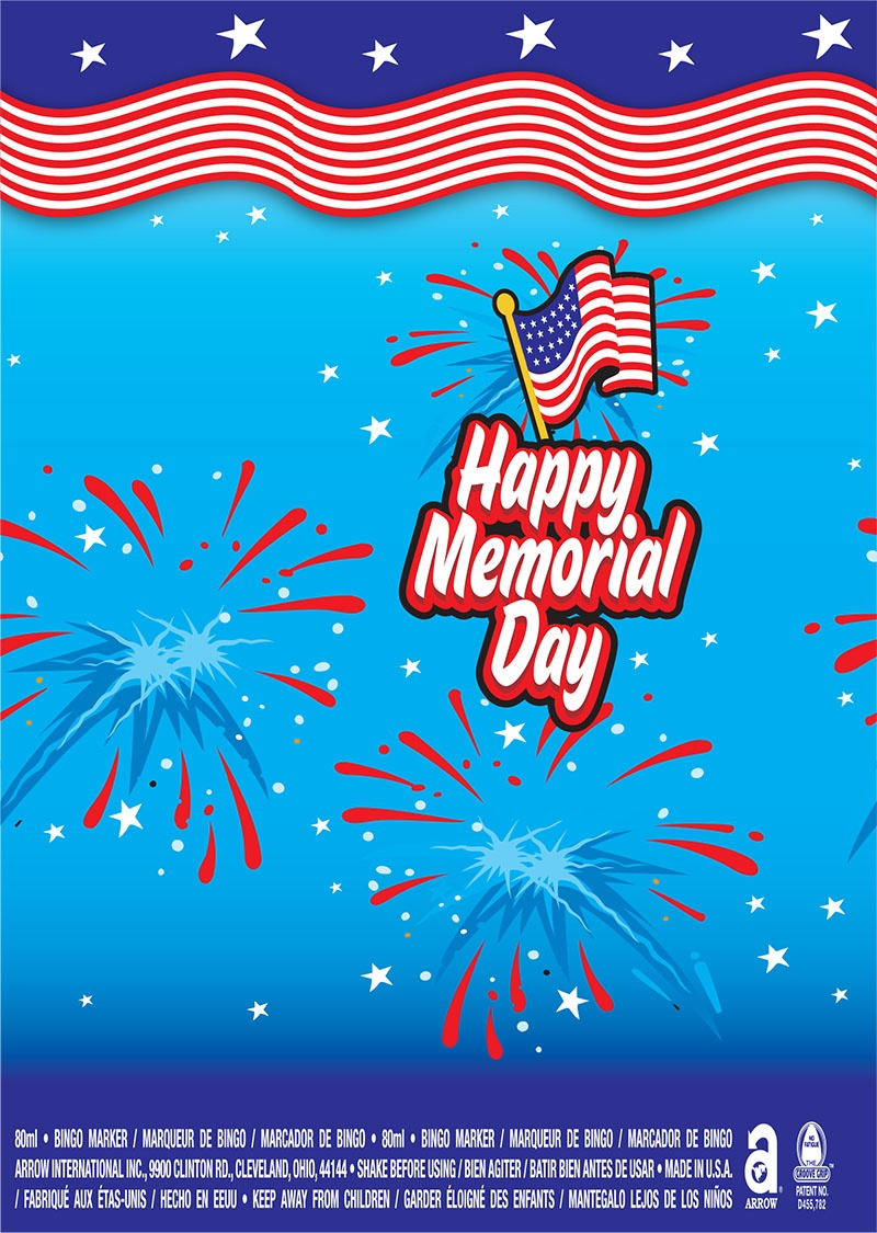Happy Memorial Day / American Flag and Fireworks